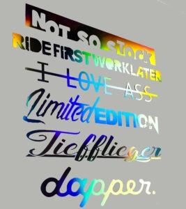 Hologramm Autoaufkleber Wunschtext Schriftzug