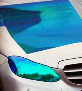 Blaue Auto Folie Scheinwerfer Folie