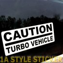 CAUTION TURBO AUTO Autoaufkleber