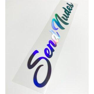 Send Nudes Heckscheiben Aufkleber Slick Oil Hologramm Sticker Farbwahl
