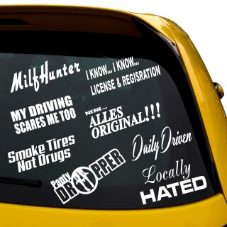 9 Sticker im Set, Locally Hated, Milf Hunter, Daily Driven, MIlfhunter, Smoke Tires, Panty Dropper, alles Original.... ROT innen